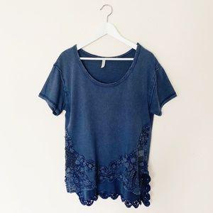 Free People Crochet Bottom Denim T Shirt Size S